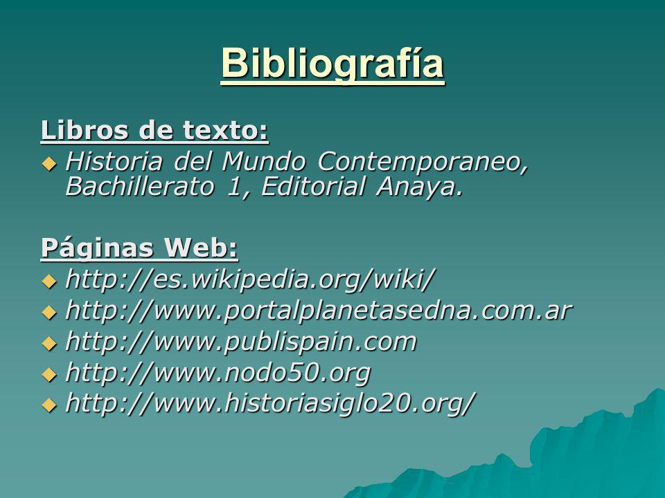 Bibliografía Libros de texto:
