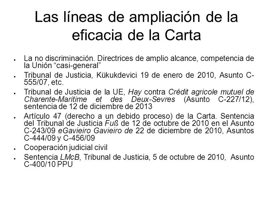 Las líneas de ampliación de la eficacia de la Carta