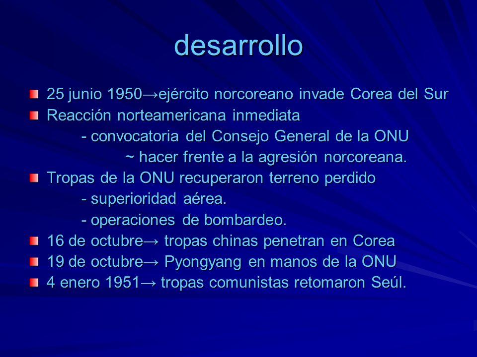 desarrollo 25 junio 1950→ejército norcoreano invade Corea del Sur