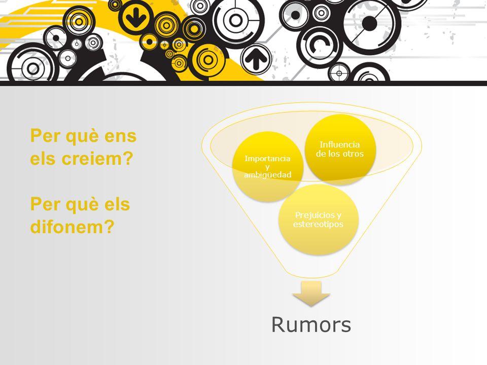 Rumors Per què ens els creiem Per què els difonem