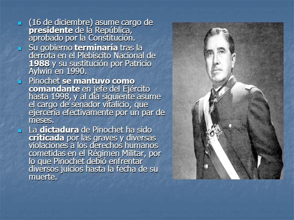 (16 de diciembre) asume cargo de presidente de la República, aprobado por la Constitución.