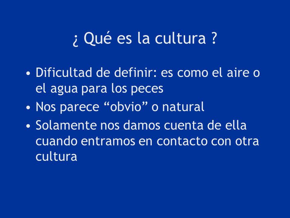 ¿ Qué es la cultura Dificultad de definir: es como el aire o el agua para los peces. Nos parece obvio o natural.