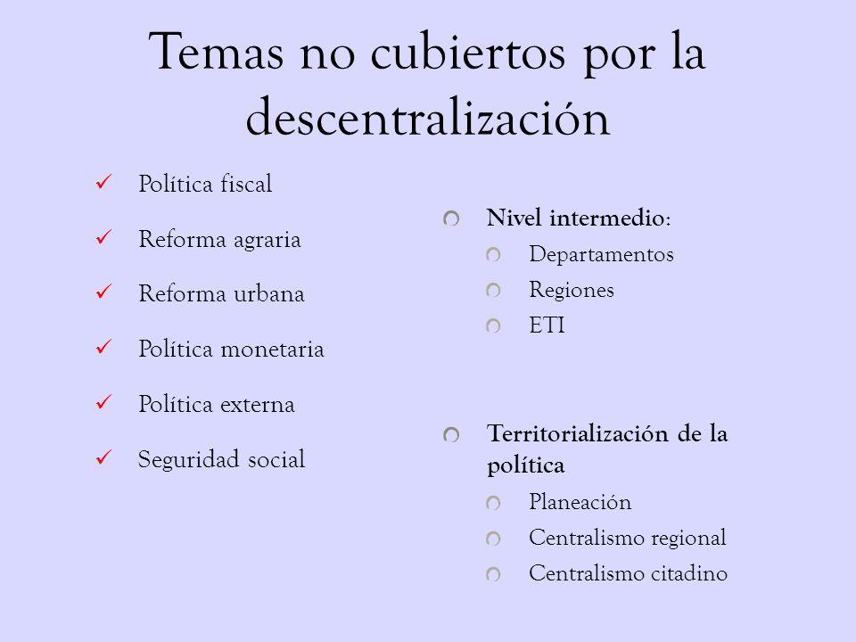 Temas no cubiertos por la descentralización