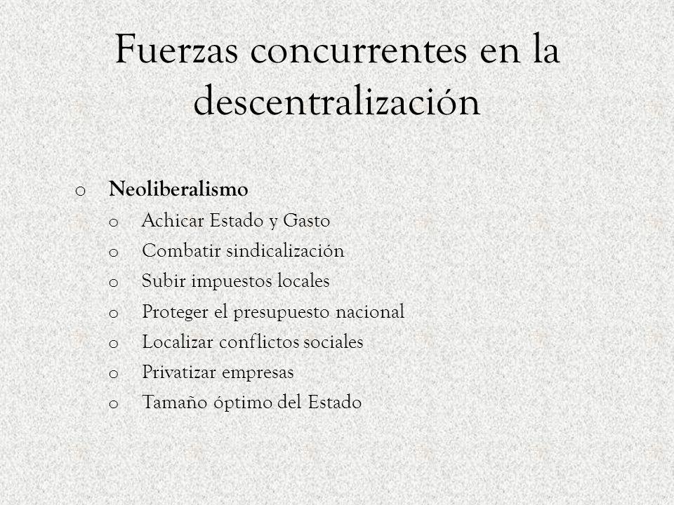 Fuerzas concurrentes en la descentralización
