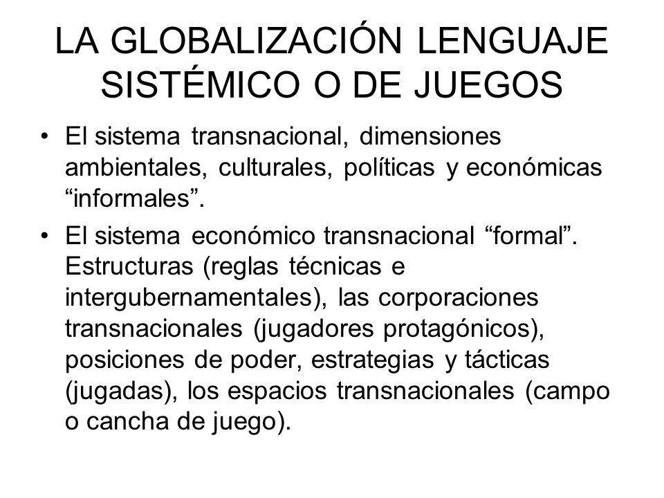LA GLOBALIZACIÓN LENGUAJE SISTÉMICO O DE JUEGOS