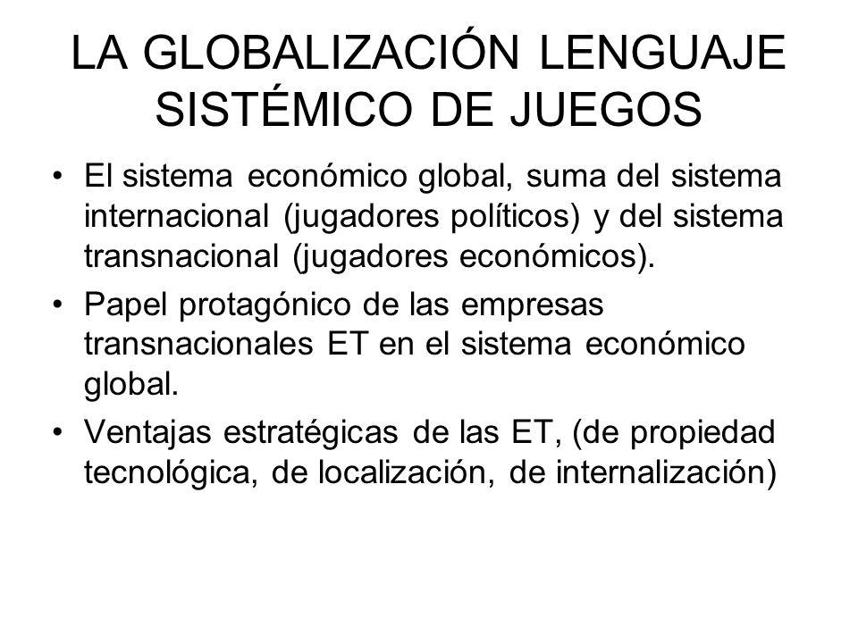 LA GLOBALIZACIÓN LENGUAJE SISTÉMICO DE JUEGOS