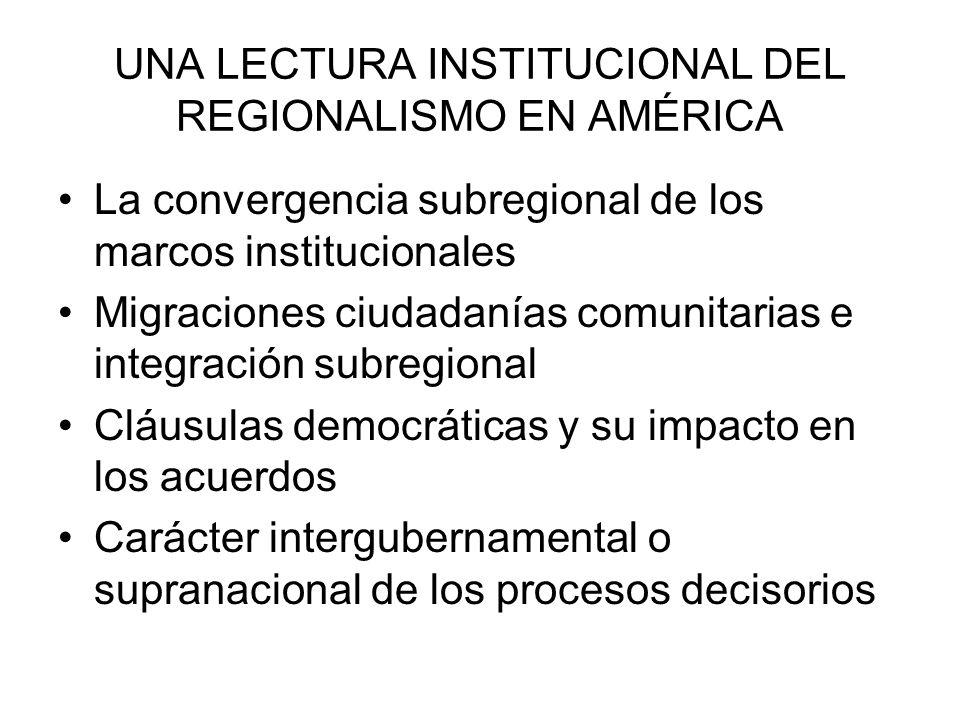 UNA LECTURA INSTITUCIONAL DEL REGIONALISMO EN AMÉRICA