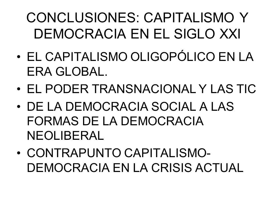 CONCLUSIONES: CAPITALISMO Y DEMOCRACIA EN EL SIGLO XXI