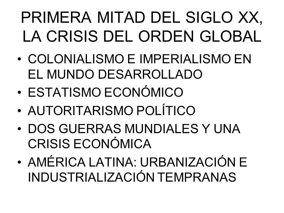 PRIMERA MITAD DEL SIGLO XX, LA CRISIS DEL ORDEN GLOBAL