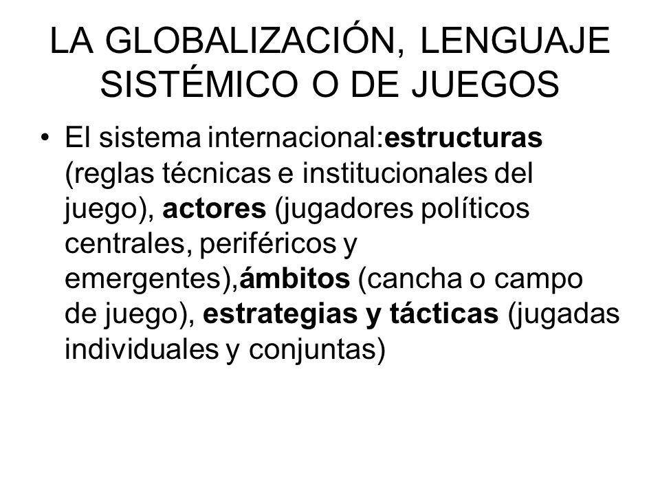 LA GLOBALIZACIÓN, LENGUAJE SISTÉMICO O DE JUEGOS