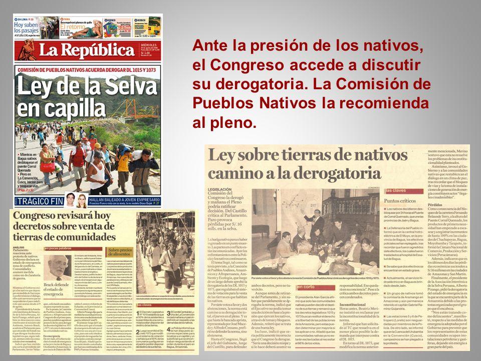 Ante la presión de los nativos, el Congreso accede a discutir su derogatoria.