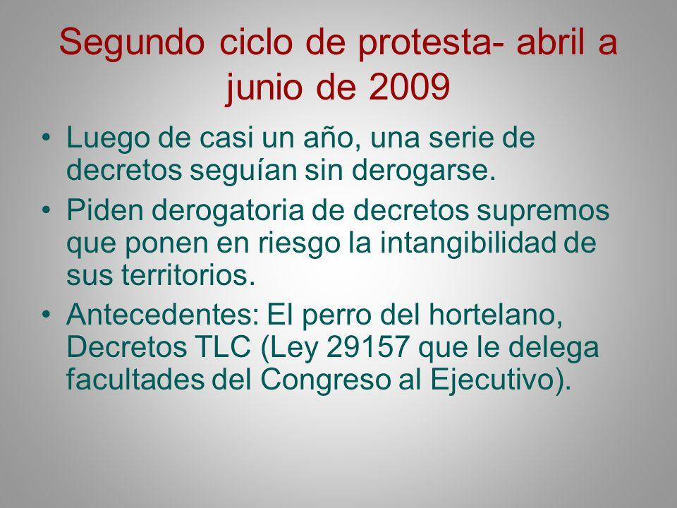 Segundo ciclo de protesta- abril a junio de 2009