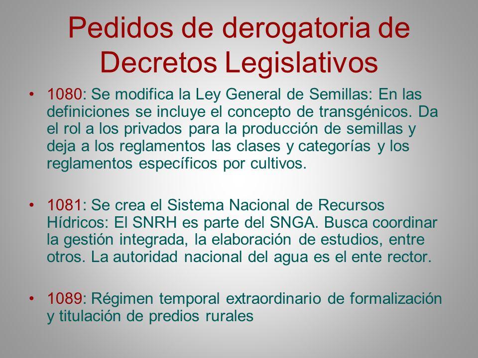 Pedidos de derogatoria de Decretos Legislativos