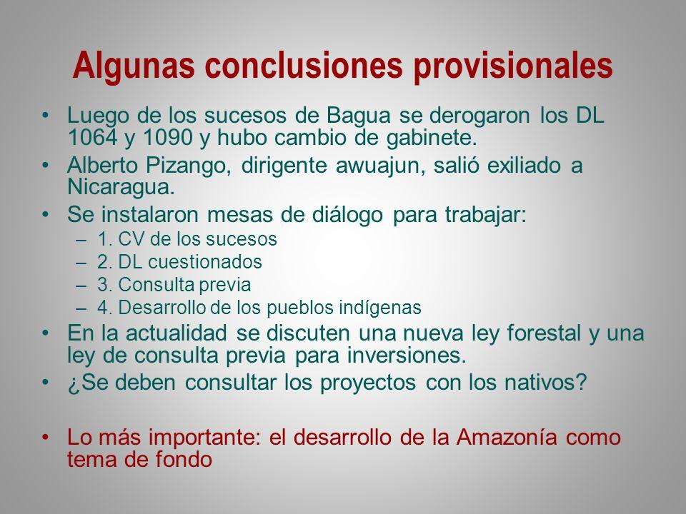 Algunas conclusiones provisionales