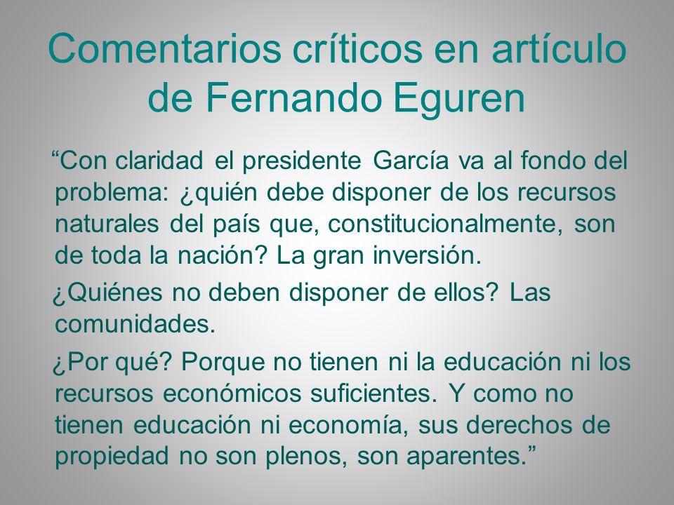 Comentarios críticos en artículo de Fernando Eguren