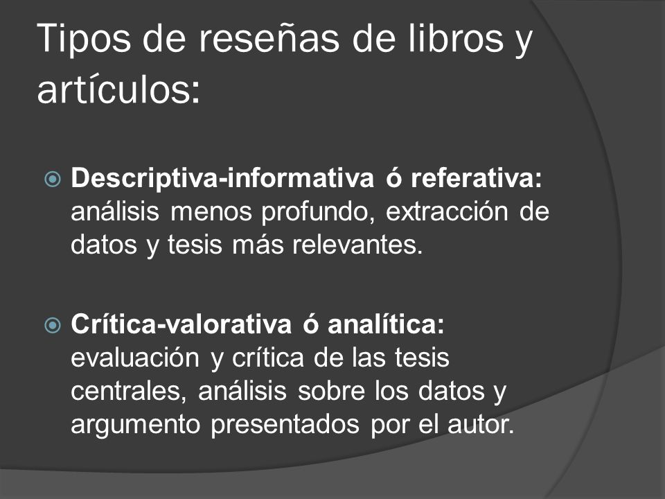 Tipos de reseñas de libros y artículos: