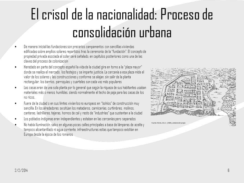 El crisol de la nacionalidad: Proceso de consolidación urbana