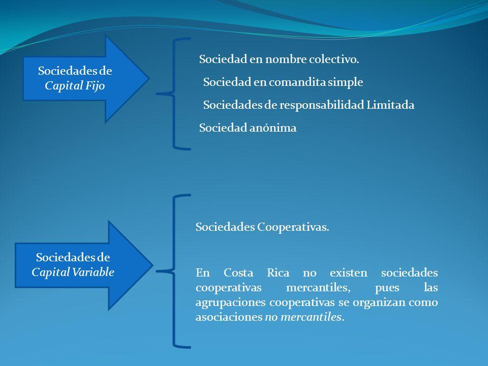 Sociedades de Capital Fijo Sociedad en nombre colectivo.