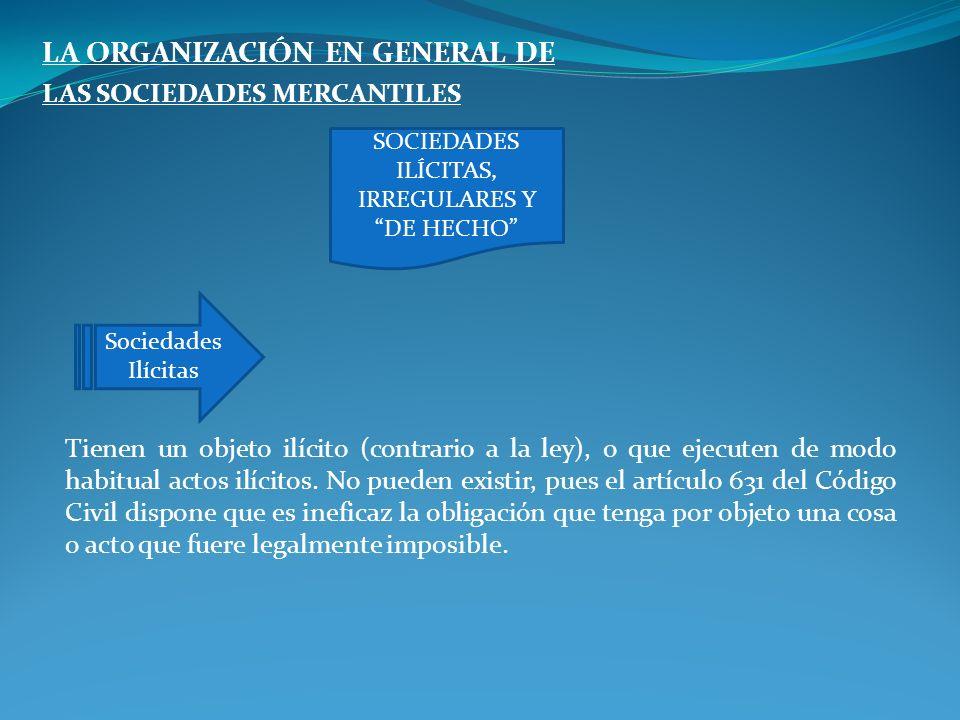SOCIEDADES ILÍCITAS, IRREGULARES Y DE HECHO