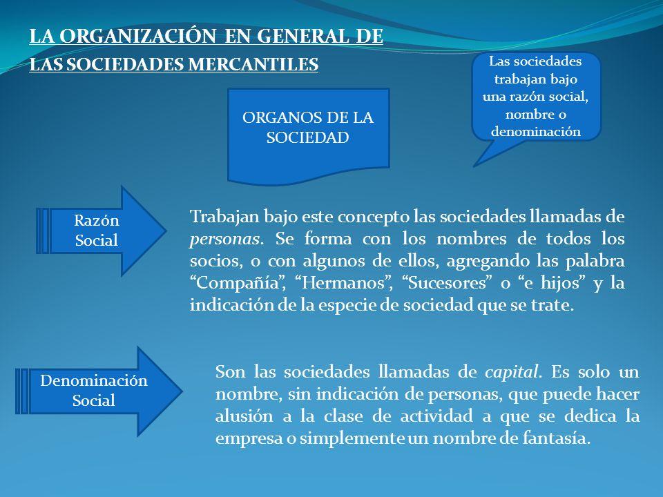 Las sociedades trabajan bajo una razón social, nombre o denominación