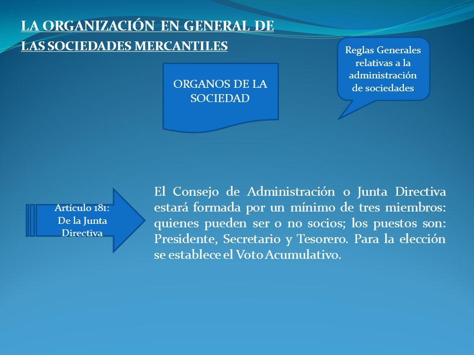 Reglas Generales relativas a la administración de sociedades