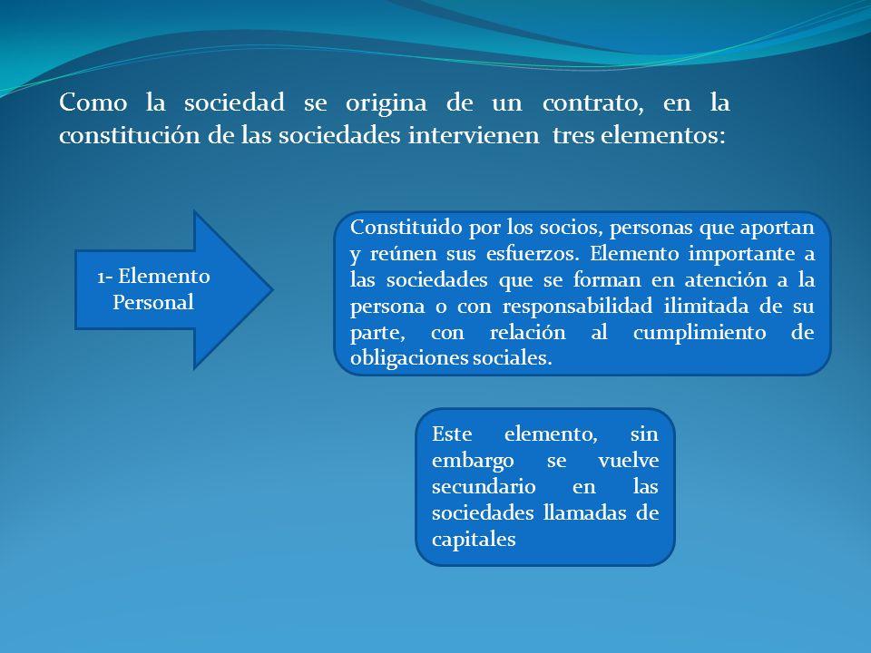 Como la sociedad se origina de un contrato, en la constitución de las sociedades intervienen tres elementos: