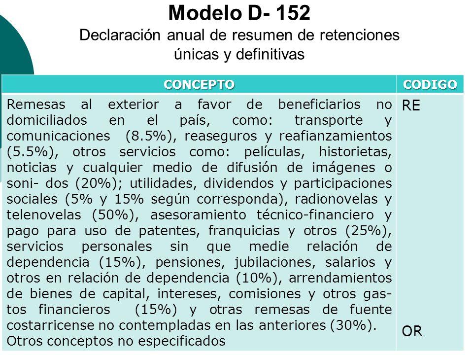 Modelo D- 152 Declaración anual de resumen de retenciones únicas y definitivas