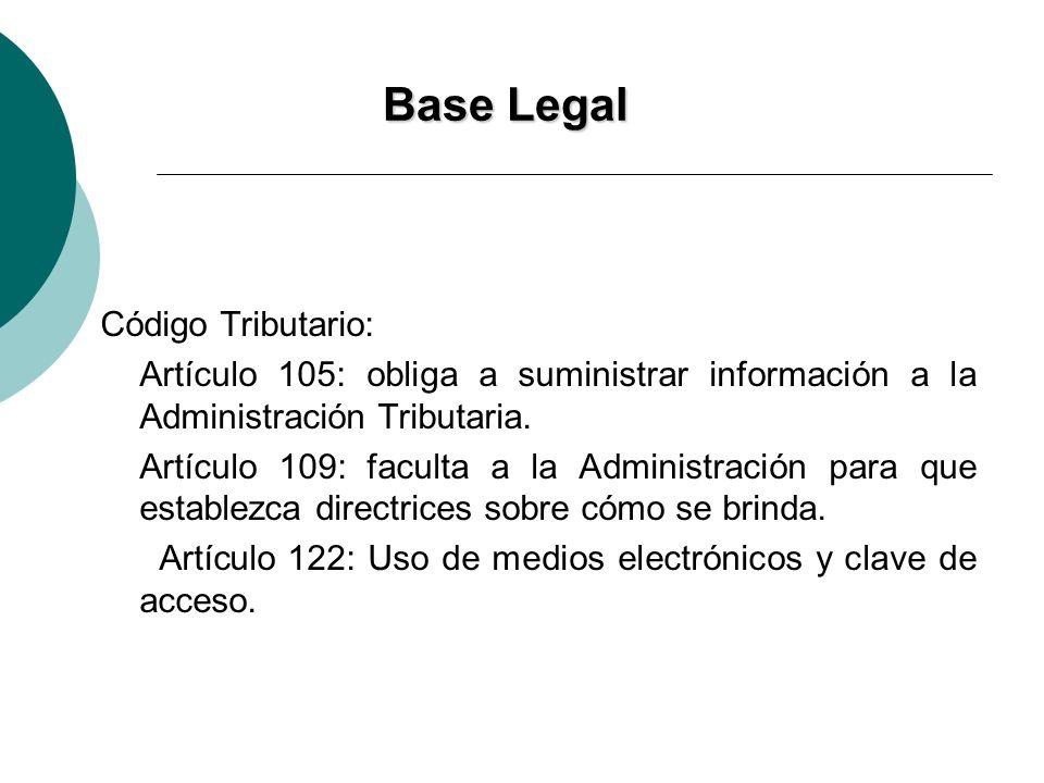 Base Legal Código Tributario: