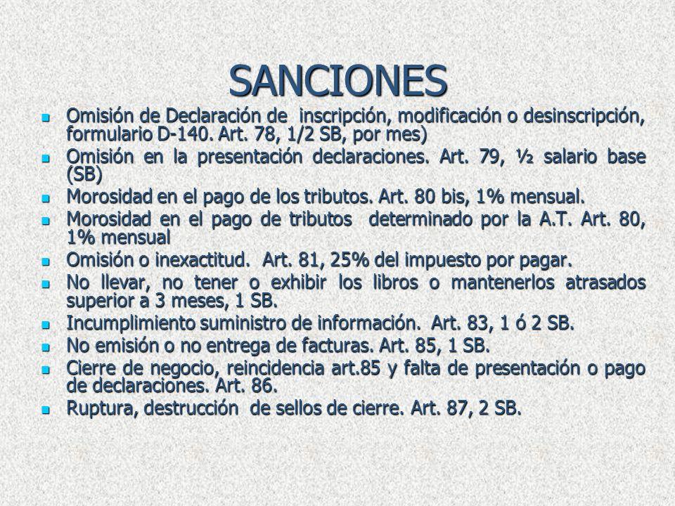 SANCIONES Omisión de Declaración de inscripción, modificación o desinscripción, formulario D-140. Art. 78, 1/2 SB, por mes)