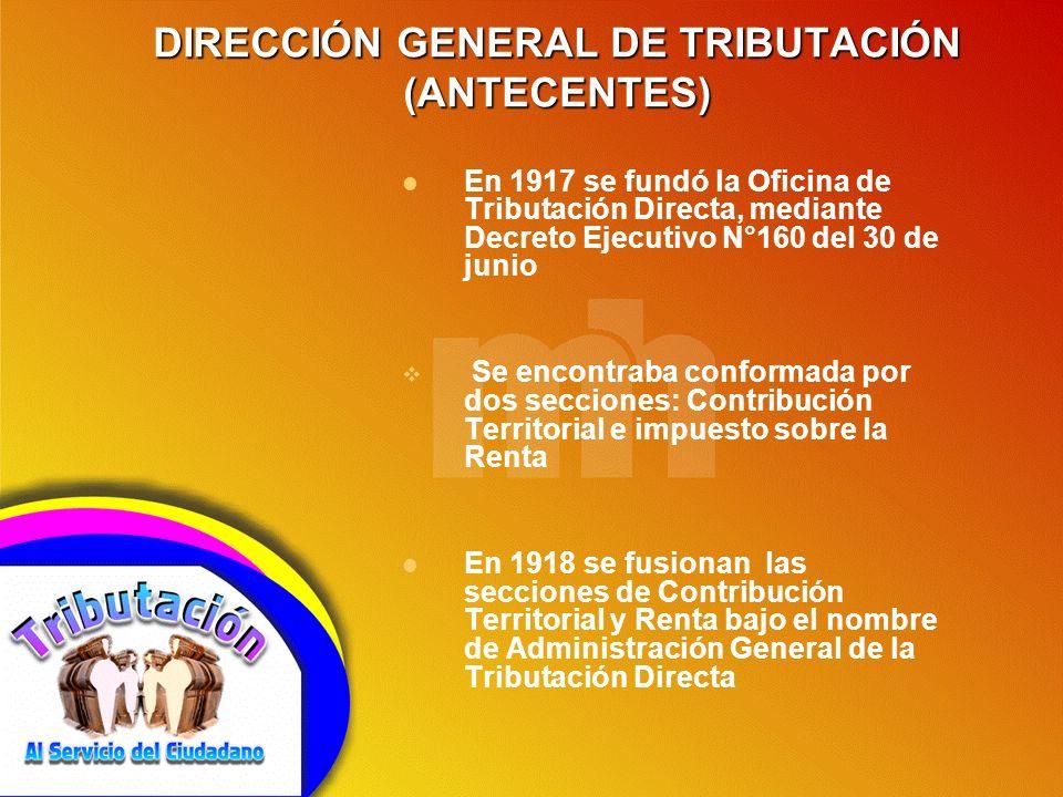 DIRECCIÓN GENERAL DE TRIBUTACIÓN (ANTECENTES)