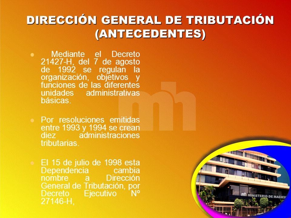 DIRECCIÓN GENERAL DE TRIBUTACIÓN (ANTECEDENTES)