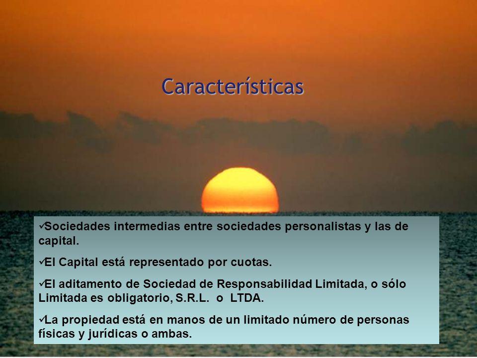 CaracterísticasSociedades intermedias entre sociedades personalistas y las de capital. El Capital está representado por cuotas.