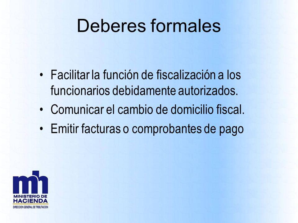 Deberes formales Facilitar la función de fiscalización a los funcionarios debidamente autorizados. Comunicar el cambio de domicilio fiscal.