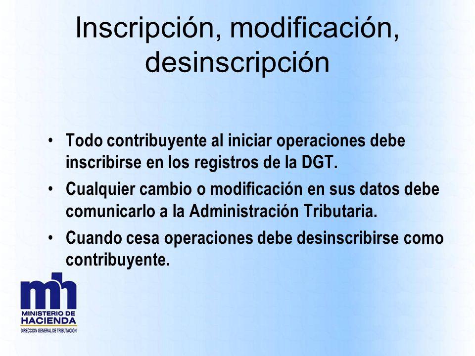 Inscripción, modificación, desinscripción