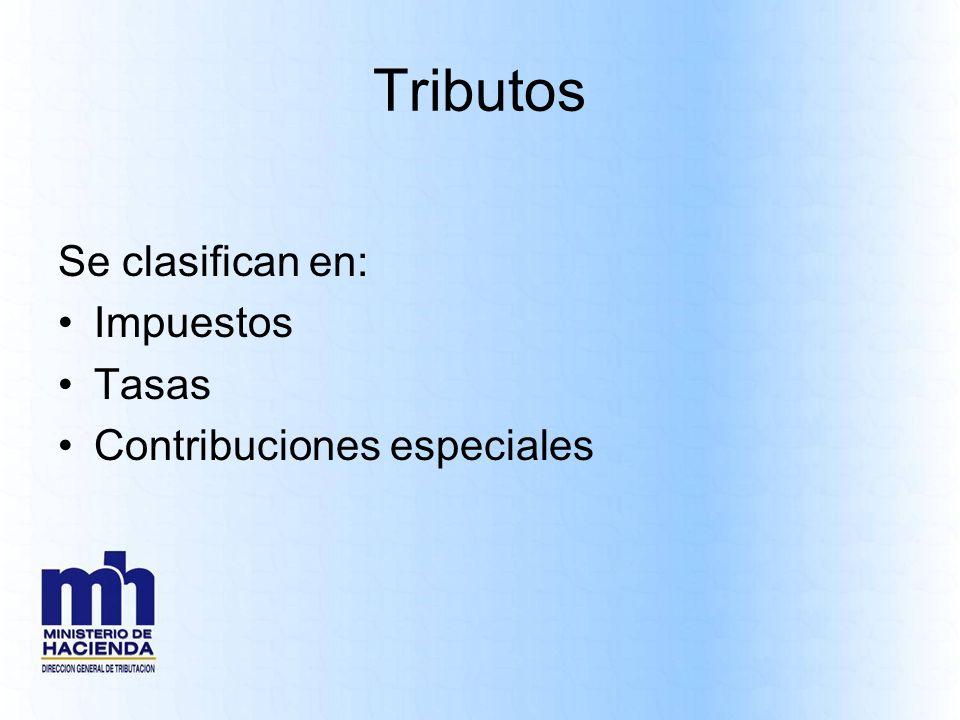 Tributos Se clasifican en: Impuestos Tasas Contribuciones especiales