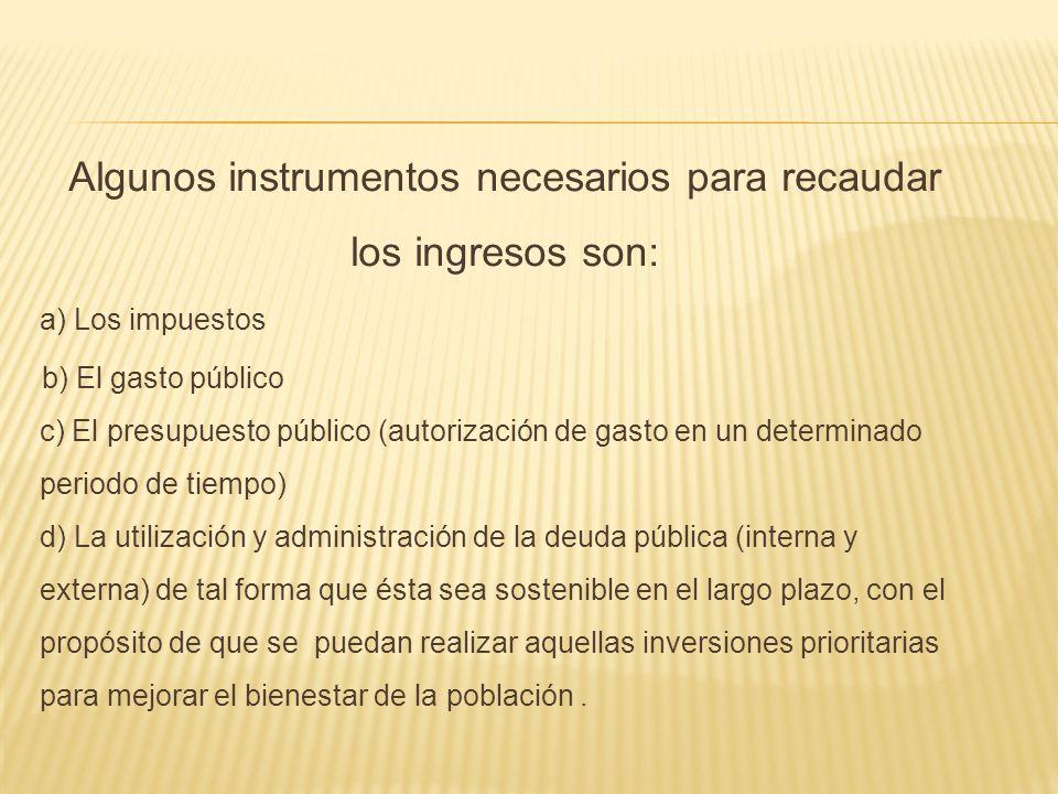 Algunos instrumentos necesarios para recaudar los ingresos son:
