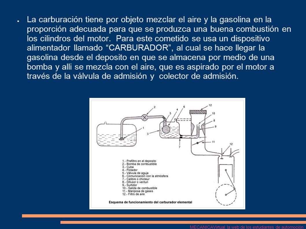 La carburación tiene por objeto mezclar el aire y la gasolina en la proporción adecuada para que se produzca una buena combustión en los cilindros del motor. Para este cometido se usa un dispositivo alimentador llamado CARBURADOR , al cual se hace llegar la gasolina desde el deposito en que se almacena por medio de una bomba y alli se mezcla con el aire, que es aspirado por el motor a través de la válvula de admisión y colector de admisión.