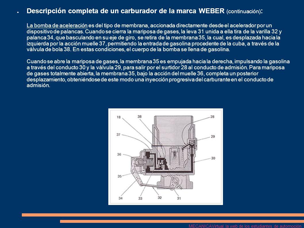 Descripción completa de un carburador de la marca WEBER (continuación): La bomba de aceleración es del tipo de membrana, accionada directamente desde el acelerador por un dispositivo de palancas. Cuando se cierra la mariposa de gases, la leva 31 unida a ella tira de la varilla 32 y palanca 34, que basculando en su eje de giro, se retira de la membrana 35, la cual, es desplazada hacia la izquierda por la acción muelle 37, permitiendo la entrada de gasolina procedente de la cuba, a través de la válvula de bola 38. En estas condiciones, el cuerpo de la bomba se llena de gasolina. Cuando se abre la mariposa de gases, la membrana 35 es empujada hacia la derecha, impulsando la gasolina a través del conducto 30 y la válvula 29, para salir por el surtidor 28 al conducto de admisión. Para mariposa de gases totalmente abierta, la membrana 35, bajo la acción del muelle 36, completa un posterior desplazamiento, obteniéndose de este modo una inyección progresiva del carburante en el conducto de admisión.