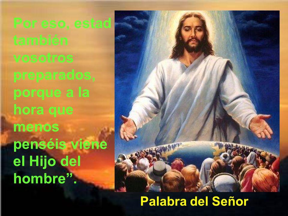 Por eso, estad también vosotros preparados, porque a la hora que menos penséis viene el Hijo del hombre .