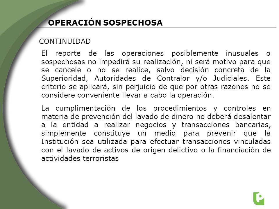 OPERACIÓN SOSPECHOSA CONTINUIDAD