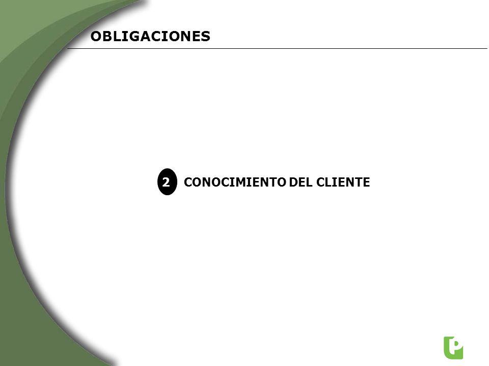 OBLIGACIONES 2 CONOCIMIENTO DEL CLIENTE
