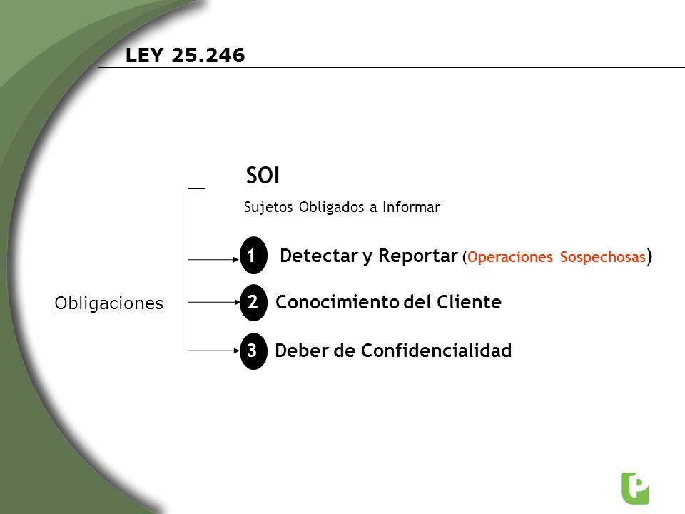 SOI LEY 25.246 1 Detectar y Reportar (Operaciones Sospechosas)