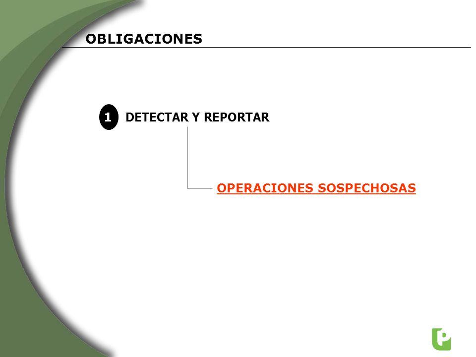 OBLIGACIONES 1 DETECTAR Y REPORTAR OPERACIONES SOSPECHOSAS