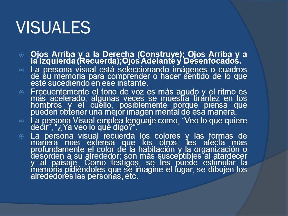 VISUALESOjos Arriba y a la Derecha (Construye); Ojos Arriba y a la Izquierda (Recuerda);Ojos Adelante y Desenfocados.