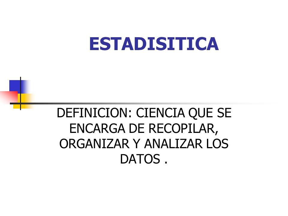 ESTADISITICA DEFINICION: CIENCIA QUE SE ENCARGA DE RECOPILAR, ORGANIZAR Y ANALIZAR LOS DATOS .