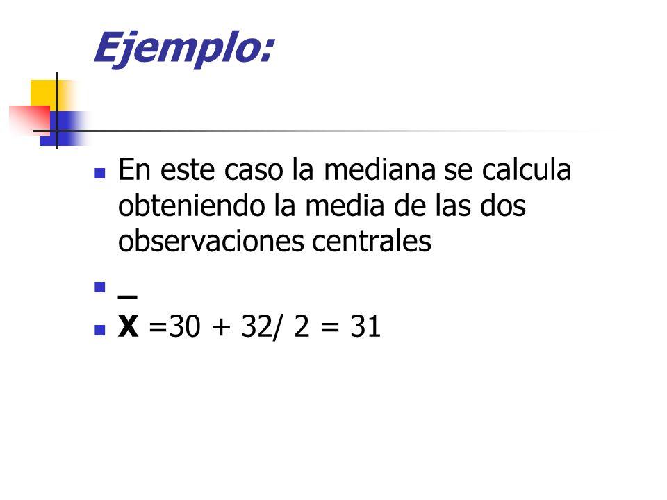Ejemplo: En este caso la mediana se calcula obteniendo la media de las dos observaciones centrales.