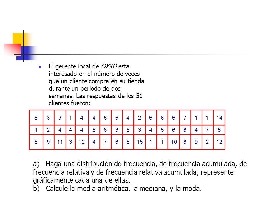 b) Calcule la media aritmética. la mediana, y la moda.