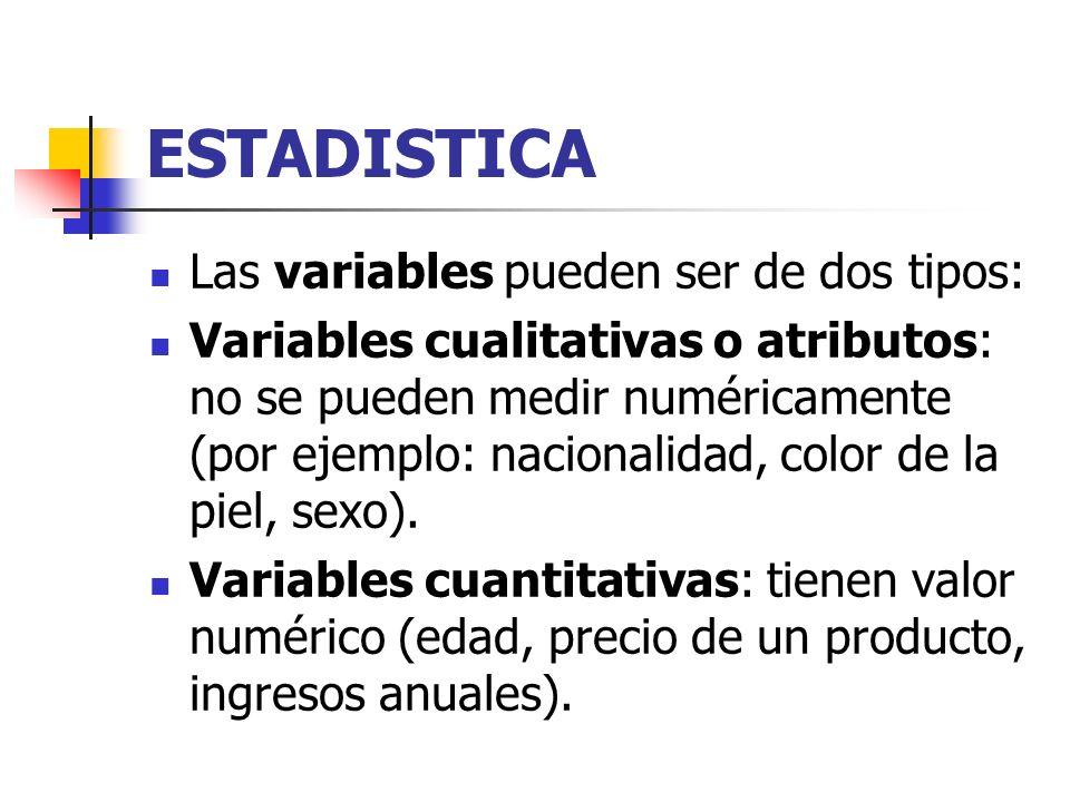 ESTADISTICA Las variables pueden ser de dos tipos: