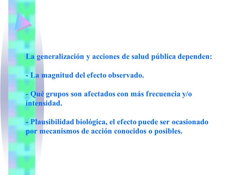 La generalización y acciones de salud pública dependen: - La magnitud del efecto observado.