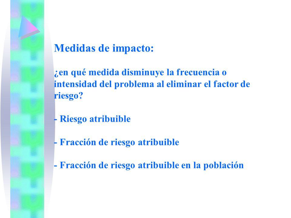 Medidas de impacto: ¿en qué medida disminuye la frecuencia o intensidad del problema al eliminar el factor de riesgo.
